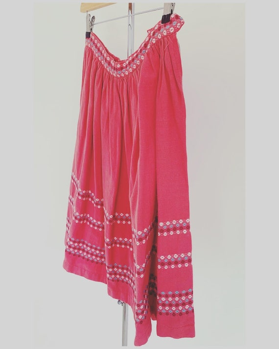 Vintage 70s Pink Cotton Embroidered Peasant Skirt