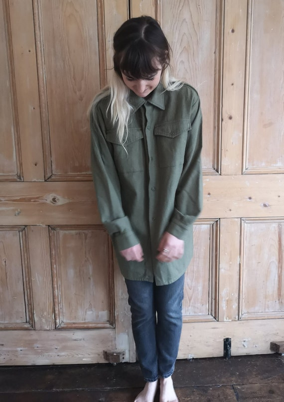 Vintage Military Wool Light Khaki Long Sleeve Shi… - image 5