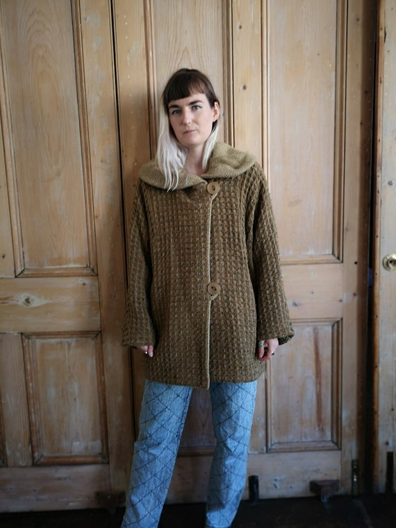 Vintage Khaki Oversized Wool Winter Coat