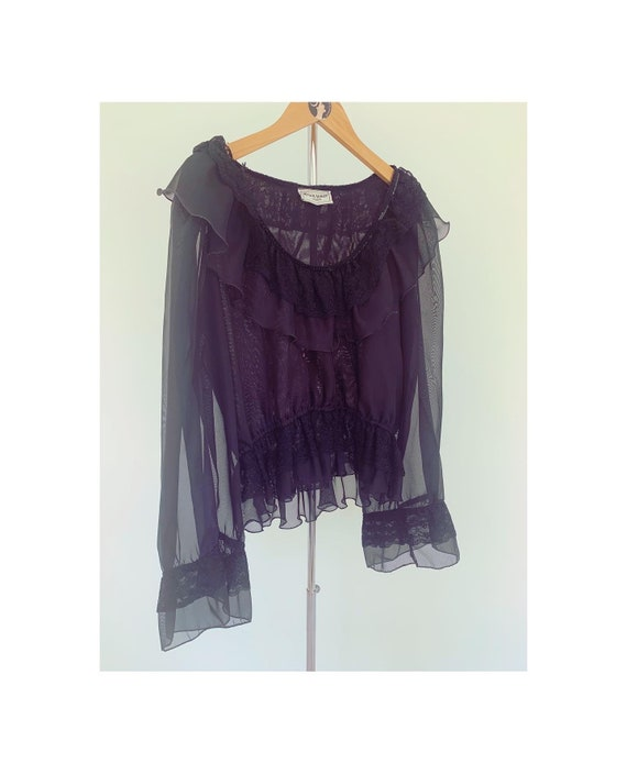 Vintage 80s Frank Usher Black Sheer Blouse