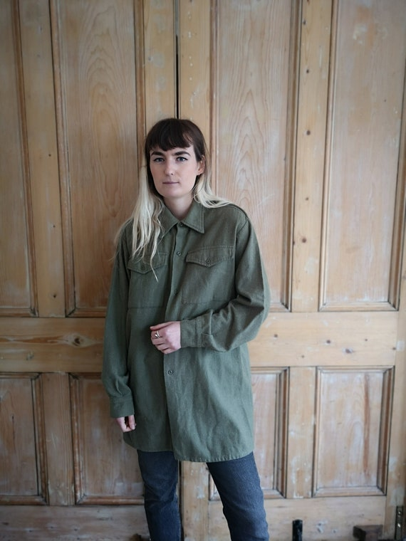 Vintage Military Wool Light Khaki Long Sleeve Shi… - image 1