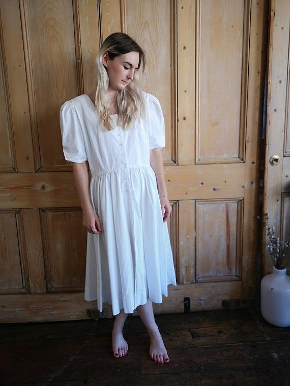Vintage 80s White  Oversized Cotton Dress