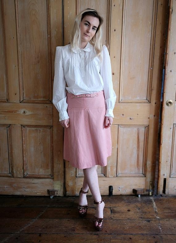 Vintage 70's Pastel Pink Denim Midi Skirt