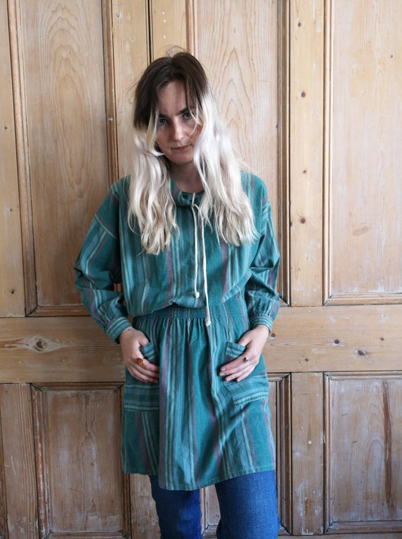 Vintage 70s Striped Roll Neck Cotton Smock Tunic T