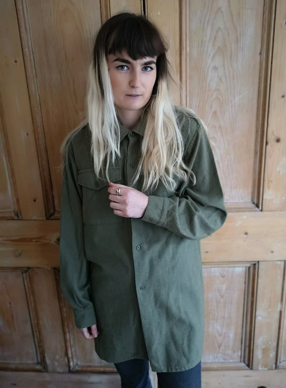 Vintage Military Wool Light Khaki Long Sleeve Shi… - image 6