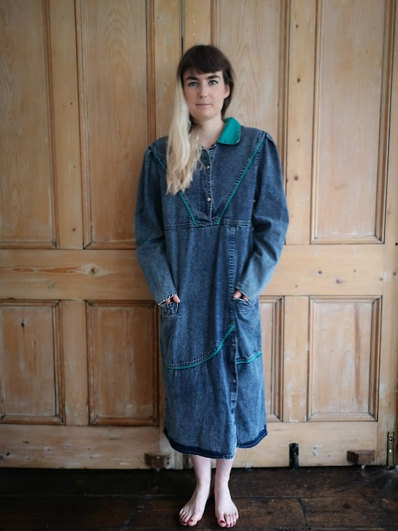 Vintage 80s Denim Smock Midi Dress