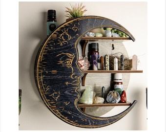 Essential Oil Shelf, Medium Moon Shelf, Crystal Shelf, Altar shelf