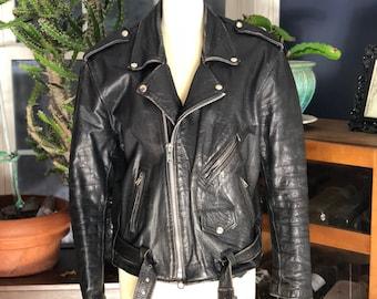 1980's black leather motorcycle jacket