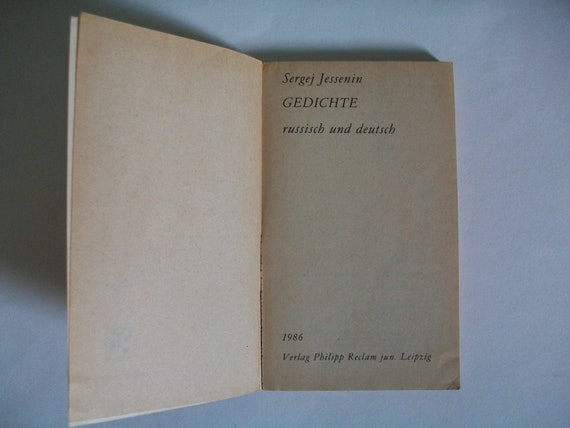 Vintage Book Sergei Yesenin Poetry Russian And Deutsch Language