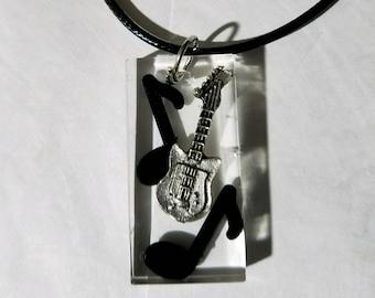 Resin necklace guitar music notes musical fun unique