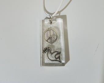 Resin dove peace sign glitter fun unique necklace