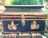 Indian Hope Chest Bride Groom Box Vintage Small Wood Chest Figural Painted Recipe Box Rustic Folk Art Keepsake Box
