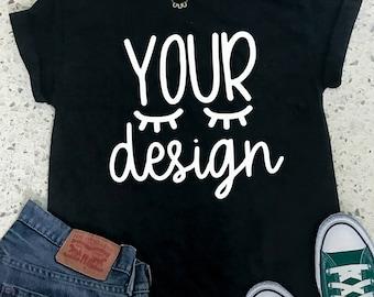 Download Free mock up black tshirt, black T-shirt, your design here, mock-up, mockup, recommended by shorts and lemons for svg files, jpeg digital file PSD Template