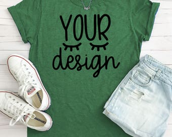 Download Free green T-shirt, your design here, mock-up, mockup, recommended by shorts and lemons for svg files, woman, blank tshirt, jpeg digital file PSD Template