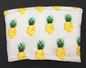 Reusable Fabric Coffee Sleeve / Reusable Coffee Cozy / Cup Sleeve / Eco Friendly Coffee Sleeve / Pineapple Print