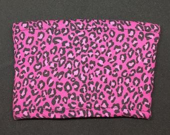 Reusable Fabric Coffee Sleeve / Reusable Coffee Cozy / Cup Sleeve / Eco Friendly Coffee Sleeve / Pink Cheetah Print