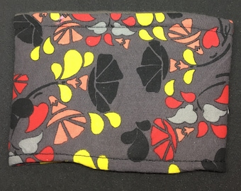 Reusable Fabric Coffee Sleeve / Reusable Coffee Cozy / Cup Sleeve / Eco Friendly Coffee Sleeve / Gray, Red, Yellow and Pink Floral Print