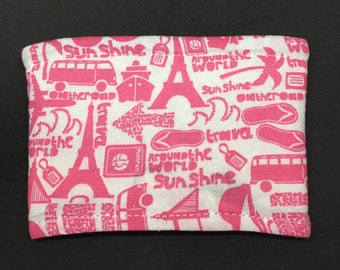 Reusable Fabric Coffee Sleeve / Reusable Coffee Cozy / Cup Sleeve / Eco Friendly Coffee Sleeve / Pink and White Vacation Print