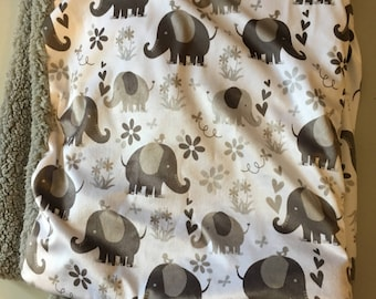 Gray and while elephant baby blanket