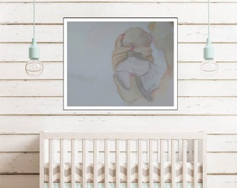 Mother and Baby Print, Fine Art Print, Watercolor Print, Mother's Day Gift