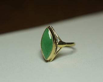 Jade ring - 18K yellow gold - Ring size 7.75 US