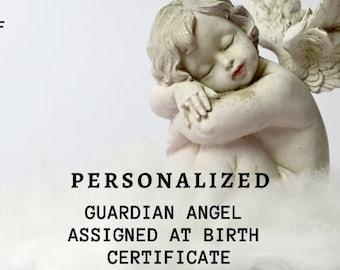 Personalized Guardian Angel Keepsake.  Guardian Angel Assigned at Birth.  Guardian Angel at Birth Certificate 8.5x11 Printable Digital PDF.