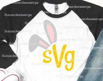b88383cd Bunny ears svg, bunny monogram svg, bunny svg, easter bunny cut file,  spring svg, bunny silhouette, SVG, Bunny,cut file for cricut