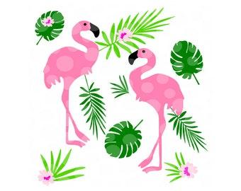 tropical svg, png, pdf, flamingo svg, tropical leaves, beach svg, summer svg, flamingo, clip art, wall art, tropical bird svg, party svg