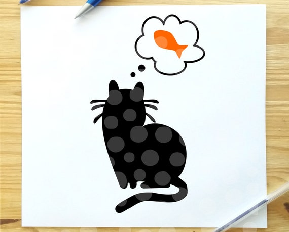 Cat Svg Cat With Fish Svg Black Cat Svg File House Cat Svg Etsy