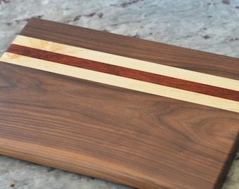 Walnut, Maple, and Padauk Cutting Board