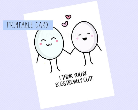 I Think You Re Eggstremely Cute Valentines Card Etsy