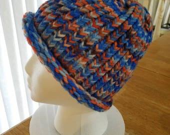Blue and Orange knit hat, blue and orange beanie, Loom knit hat, winter hat, warm hat