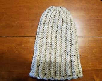Beige knit hat, beige beanie, Loom knit hat, winter hat, warm hat