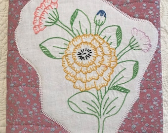 Antique Embroidered Flower Journal Cover