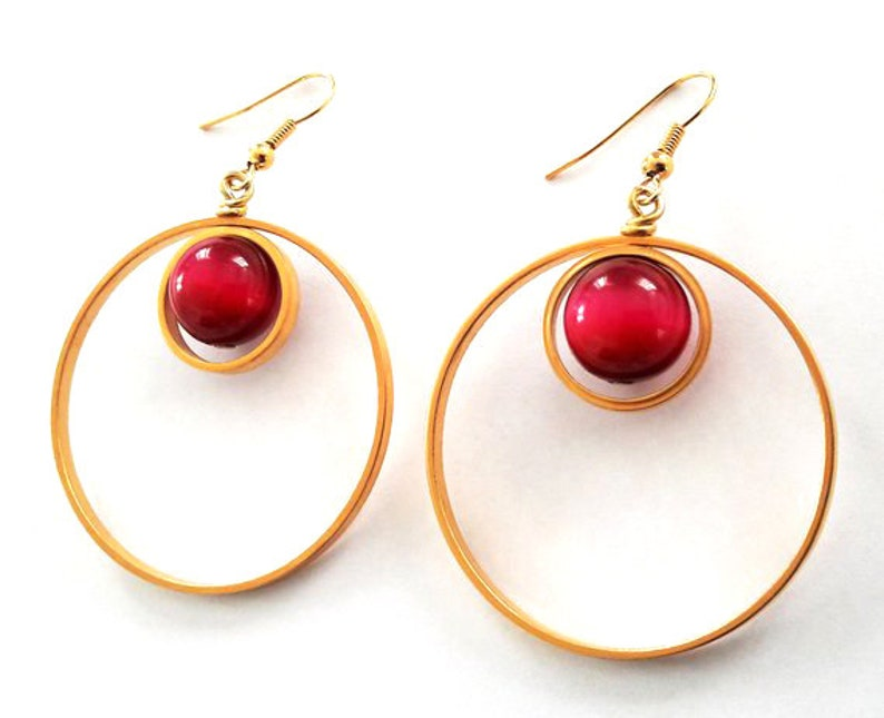 Two Circle Earrings Gold Plated Earrings Cabochon Gold Earrings Gift For Her Circle Earrings Red Gemstone Earrings Gemstone Earrings