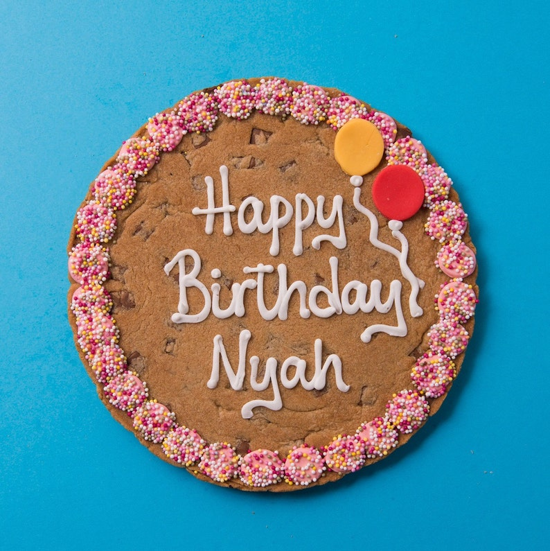 Personalised Giant Pink Happy Birthday Cookie Card