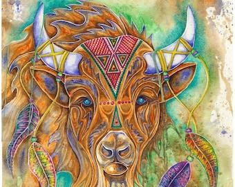 Buffalo Spirit - Watercolour Print
