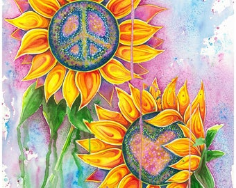 Peace and Love Sunflowers - Watercolour Print