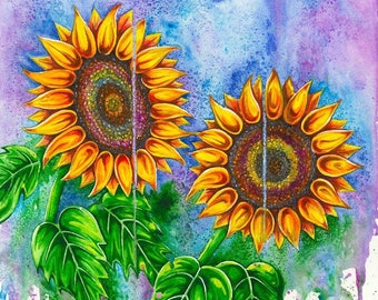 Psychedelic Sunflowers - Watercolour Print