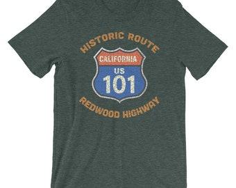 9b04fbde Historic Route 101 North Redwood Highway Souvenir Short-Sleeve Unisex T- Shirt