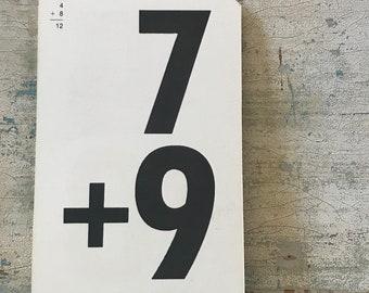Vintage Flashcard Addition Gallery Wall MultiMedia Nursery Playroom-- 7+9 and 4+8