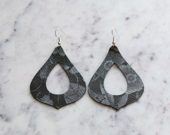 Leather Teardrop Earrings ~ Black and Gray Floral