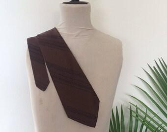 """70s Brown Striped Tie, Vintage Necktie, Wide, Pierre Cavet, 58"""""""