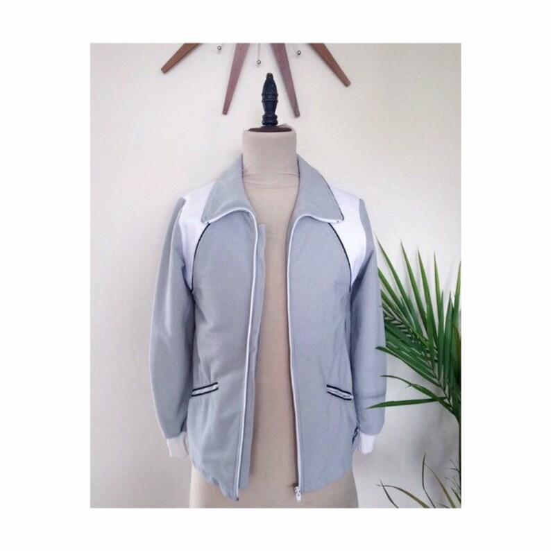 Vintage Adidas Zip Up, Corduroy Jacket, Grey and White, 70s 80s