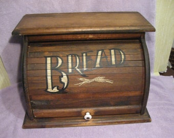 Vintage Wooden Bread Box Roll-Top Opening   Knock On Wood Corp.  USA    Large Wood Kitchen Bread Box   Country Farm Style Bread Box