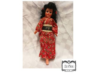 Doll, Celluloid Japanese outfit, Hand painted face,Exc Cond.