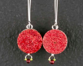 Red Emboss with Beads Wine Cork Earrings