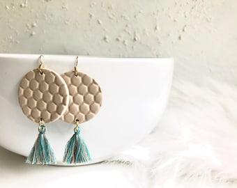 Large Coffee Honeycomb Circle and Brown/Blue Tassel Dangle Earrings