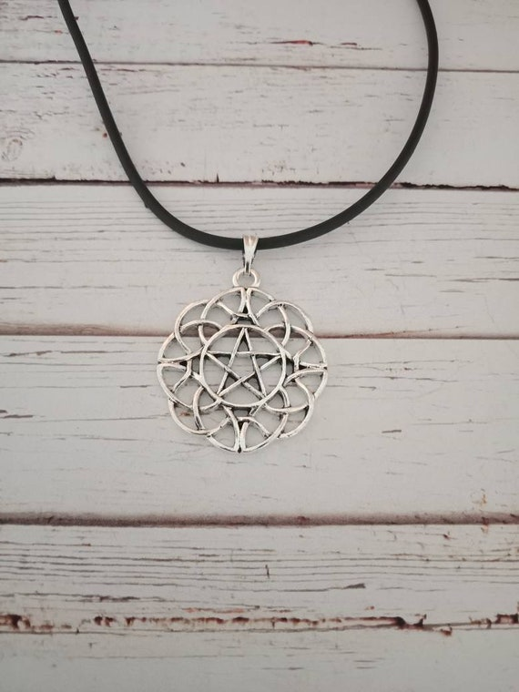 pentagram silver necklace wiccan witch pagan pentacle alternative goth spiritual