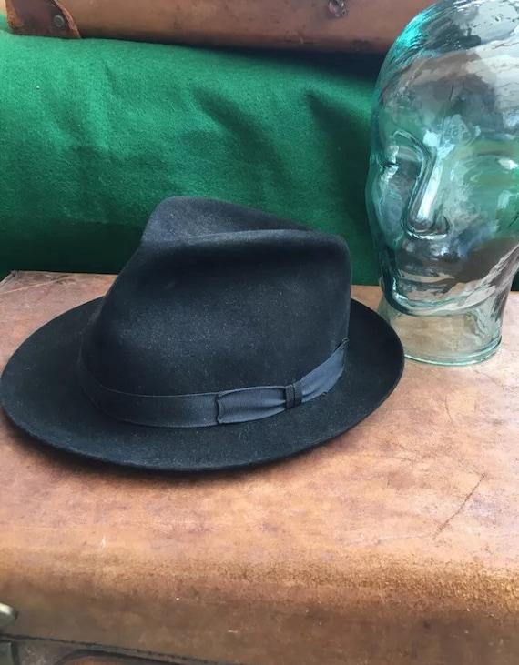 Vintage Black Fine Fur Felt Trilby Hat Christys' L